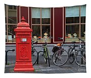 Postbox And Bicycles In Front Of The Diamond Museum In Bruges Tapestry