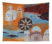Postcard From Santorini Tapestry