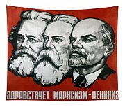 Poster Depicting Karl Marx Friedrich Engels And Lenin Tapestry