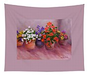 Pots Of Flowers Tapestry