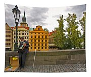 Prague Accordian Player On Charles Bridge Tapestry