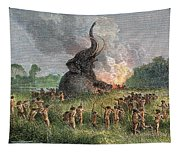 Prehistoric Mammoth Hunt Tapestry
