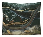 Prehistoric Marine Animals, Underwater View Tapestry