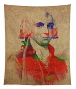 President James Madison Watercolor Portrait Tapestry