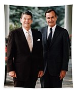 President Reagan And George H.w. Bush - Official Portrait  Tapestry