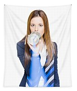Pretty Business Woman Talking On Tin Can Phone Tapestry