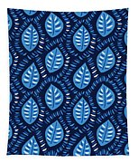 Pretty Decorative Blue Leaves Pattern Tapestry