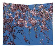 Pretty In Pink - A Flowering Cherry Tree And Blue Spring Sky Tapestry
