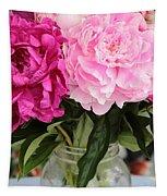 Pretty Pink Peonies In Ball Jar Vase Tapestry