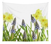 Pretty Spring Flowers All In A Row Tapestry