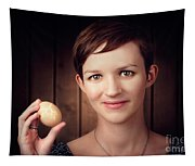 Pretty Young Brunette Woman Holding Hatching Egg Tapestry