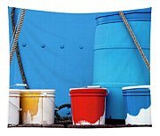 Primary Colors - Paint Buckets On A Ship Tapestry