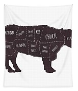 Primitive Butcher Shop Beef Cuts Chart T-shirt Tapestry by Edward Fielding