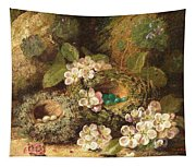 Primroses And Bird's Nests On A Mossy Bank Tapestry