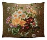 Primulas In A Glass Vase  Tapestry