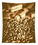 Print Industry Typographic Letters And Numbers Tapestry