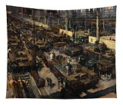Production Of Tanks Tapestry