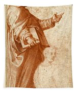 Profile Study Of A Standing Saint Holding A Book With Subsidiary Studies Of Three Additional Figures Tapestry