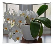 Profusion Of White Orchid Flowers Tapestry