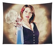 Pump Action Pin Up Woman Killing Glass Grime Tapestry