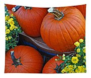 Pumpkin And Flowers Tapestry