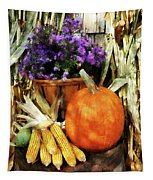 Pumpkin Corn And Asters Tapestry
