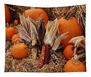 Pumpkins And Corn Tapestry