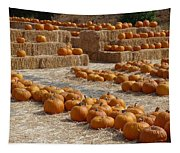 Pumpkins On Bales Tapestry