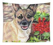 Pup In The Garden Tapestry