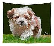 Puppy In High Grass Tapestry