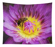 Purple And Yellow Lotus With A Bee Textured Tapestry