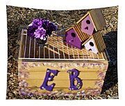 Purple Birdhouses 3 Tapestry