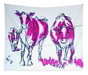 Purple Friesian Holstein Cows Drawing Tapestry