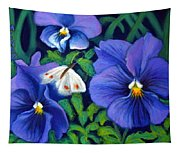 Purple Pansies And White Moth Tapestry