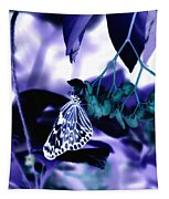 Purple Teal And A White Butterfly Tapestry