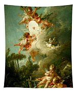 Putti Shooting At A Target Tapestry