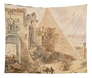 Pyramid Of Cestius And The Porta San Paolo, Rome Tapestry