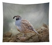 Quail On The Rocks Tapestry
