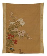 Quail Under Autumn Flowers Tapestry