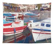 Quay On The Island Of Crete Tapestry