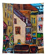 Quebec City Street Scene  Caleche Ride Tapestry