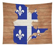 Quebec Rustic Map On Wood Tapestry