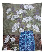 Queen Anne's Lace In Blue Vase Tapestry