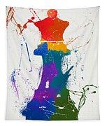 Queen Chess Piece Paint Splatter Tapestry