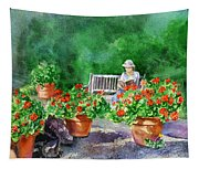 Quiet Moment Reading In The Garden Tapestry