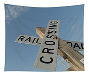 Railroad Crossing Sign Tapestry