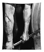 Railroad Worker Tightening Wheel Tapestry by LW Hine