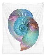 Rainbow Nautilus Pair On White Tapestry