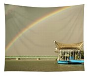Rainbow Over The Danube In Tulln Austria Tapestry
