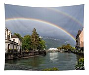 Rainbow Over Thiou River In Annecy Tapestry
